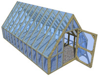 木构架单开门温室SU