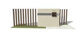 广场景墙模型
