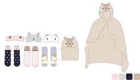 可爱家居服配饰眼罩抱枕袜子