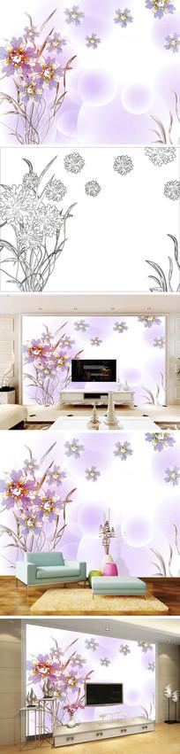 手绘紫色花朵花卉背景墙