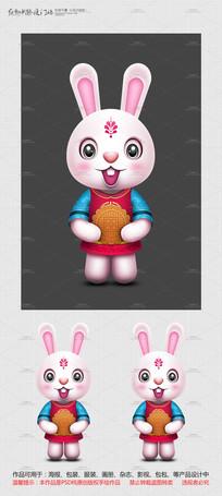 原创手绘中秋玉兔卡通形象设计