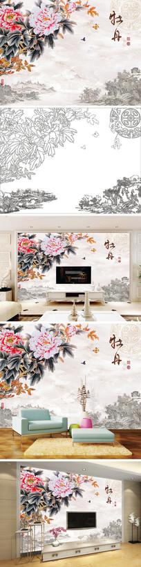 中式国画牡丹蝴蝶背景墙