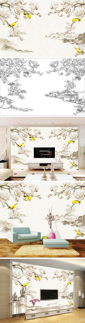 中式手绘玉兰花黄鹂花鸟背景墙