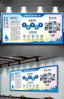 蓝色创意企业文化背景墙展板