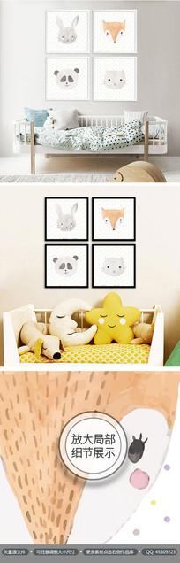可爱动物儿童房间装饰画无框画
