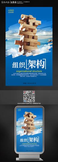 蓝色企业文化展板组织架构