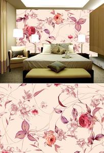 水彩玫瑰花藤背景墙
