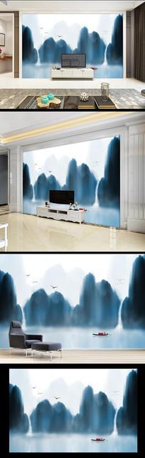 水墨禅意山水画电视沙发背景墙