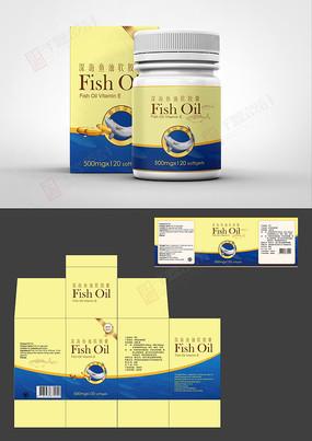 简约保健品鱼油标签彩盒设计