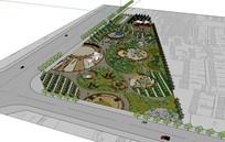 三角绿地公园SU模型