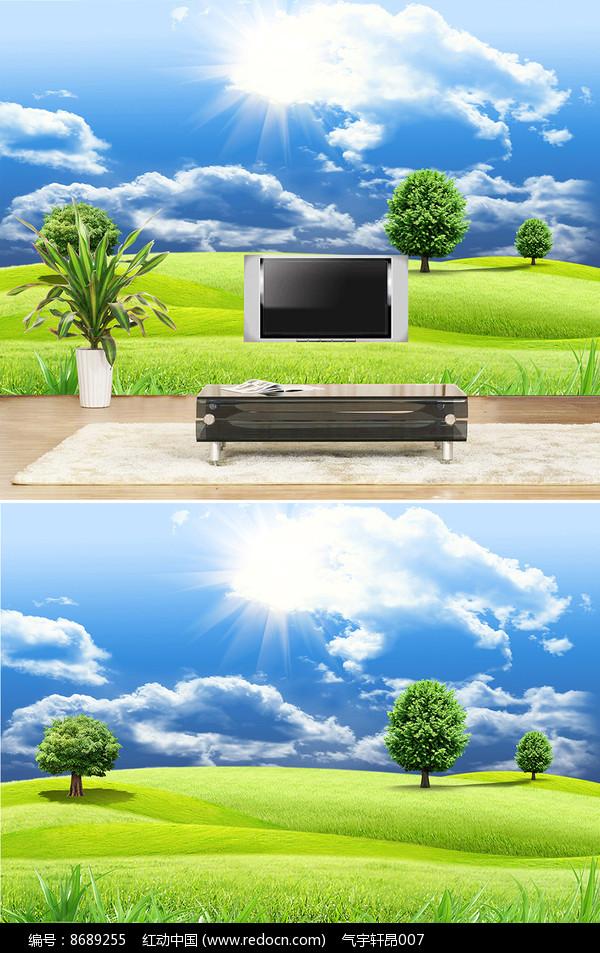 草地大树背景墙图片