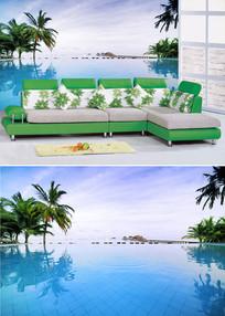 海景游泳池椰树背景墙