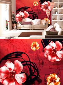 红色水墨花朵背景墙