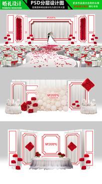 白色大红色韩式主题婚礼设计