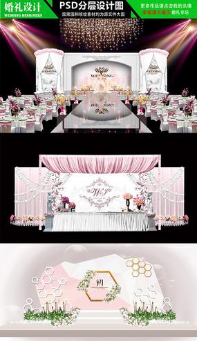 淡紫色婚礼背景设计效果图