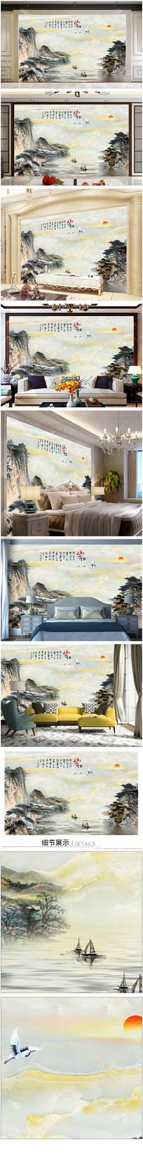 大理石山水背景墙