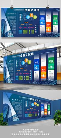 蓝色创意企业文化背景墙