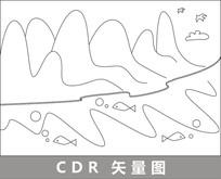 江水鱼线描插画