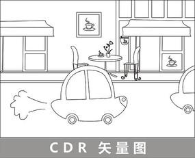 街上的卡通小汽车线描插画