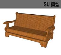 木质单色长沙发椅
