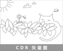 阳台上慵懒的猫线描插画
