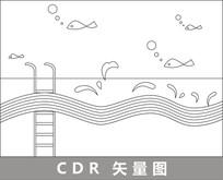 泳池上的鱼儿线描插画