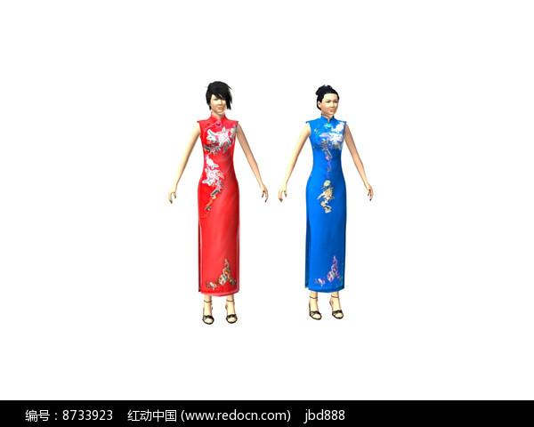 3dmax模型旗袍女装带骨骼图片