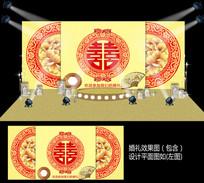 大红金色新中式婚礼背景