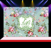 蒂芙尼花卉婚礼花墙迎宾背景