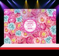 粉色花卉婚礼花墙迎宾背景设计