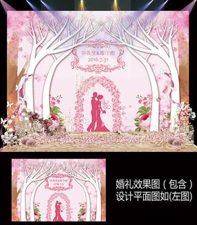 浪漫粉色婚礼迎宾签到背景