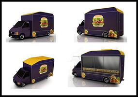 流动售餐车3D效果图