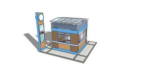广场现代食物售卖亭模型