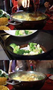 家庭聚会聚餐火锅美味新鲜食材视频实拍