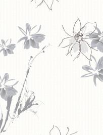 水墨花朵线条移门装饰画