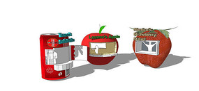 现代水果造型售卖亭模型