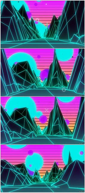 绚丽3d山峰线条线框背景视频
