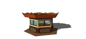 中式仿古售卖亭模型