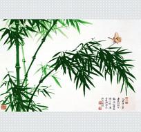 中式竹子花纹移门装饰画