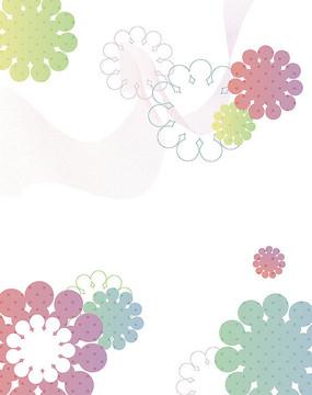 花朵线条花边移门装饰画