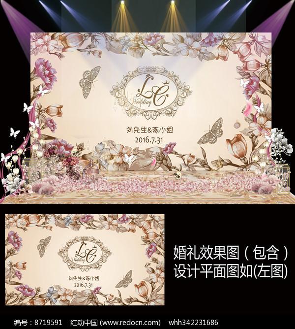 香槟金复古花卉婚礼迎宾牌图片