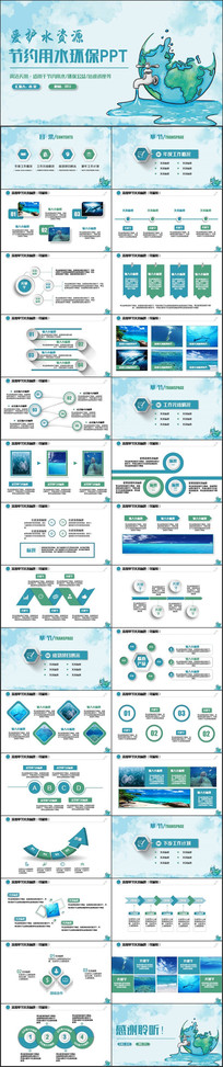动感节约用水公益环保PPT