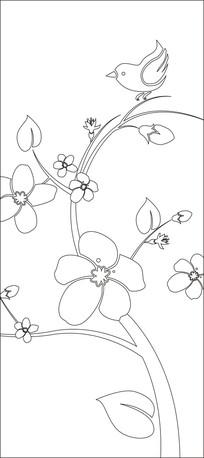 花朵与小鸟雕刻图案