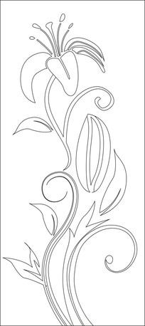 简约抽象黄花菜雕刻图案