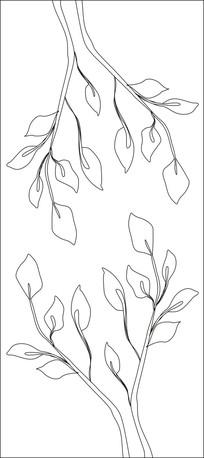 简约树枝雕刻图案