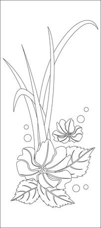 简约杂草与花朵雕刻图案
