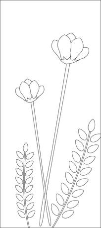 两朵直杆花雕刻图案