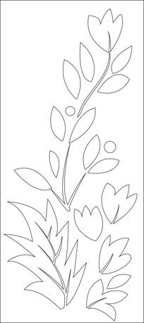 茂盛的叶子花朵雕刻图案