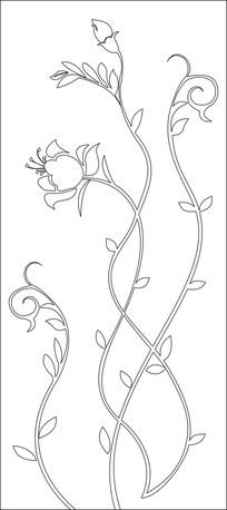 扭扭藤蔓花朵雕刻图案
