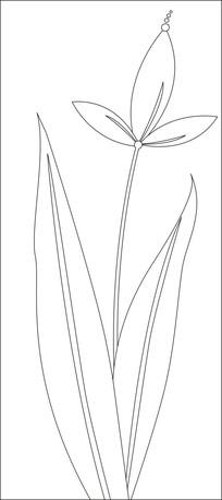 三片花瓣花朵雕刻图案